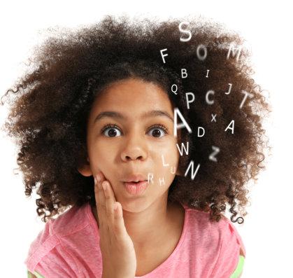 Happy little girl speech concept